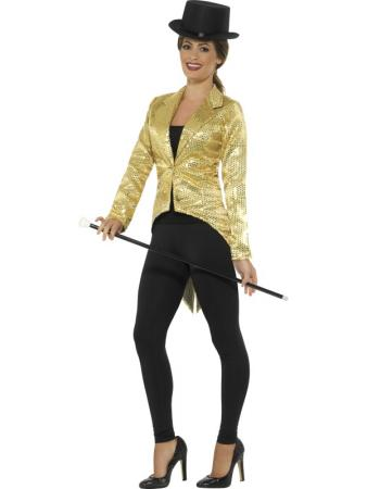 Party Pailletten Frack gold für Damen