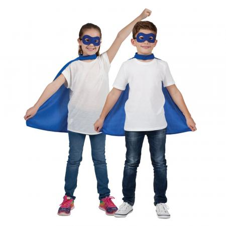 Kinder Super Helden Set mit Umhang und Maske in Blau