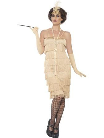 20er Jahre Marta Flapper Kostüm gold langes Dress