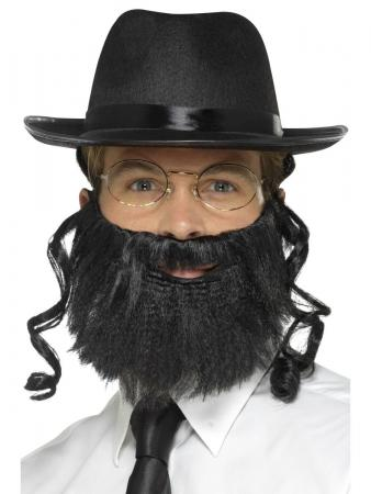 Rabbi Set mit Hut, Haar, Bart u. Brille jüdische Schläfenlocken Rabbiner