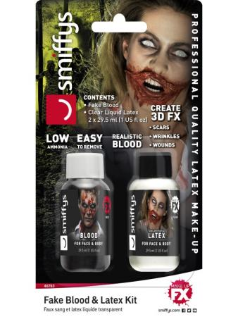 Kleines Zombie Make Up Set Blut und Latex
