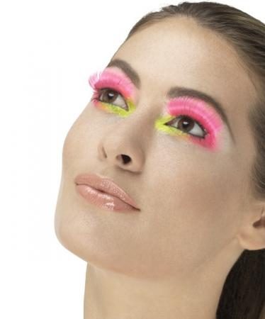 80er Party Wimpern, Neon Pink, Enthält Kleber