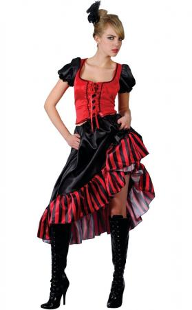 Saloon Girl Red Outfit Kostüm für Moulin Rouge