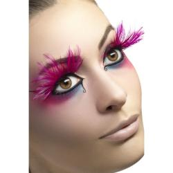 Feder-Wimpern lang pink l Smiffys 24254