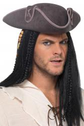 Tricorn Piratenhut Grau Deluxe