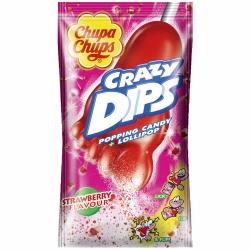 Chupa Chups Crazy Dips Strawberry 14g Einzelverpackung mit Lolli in Fußform
